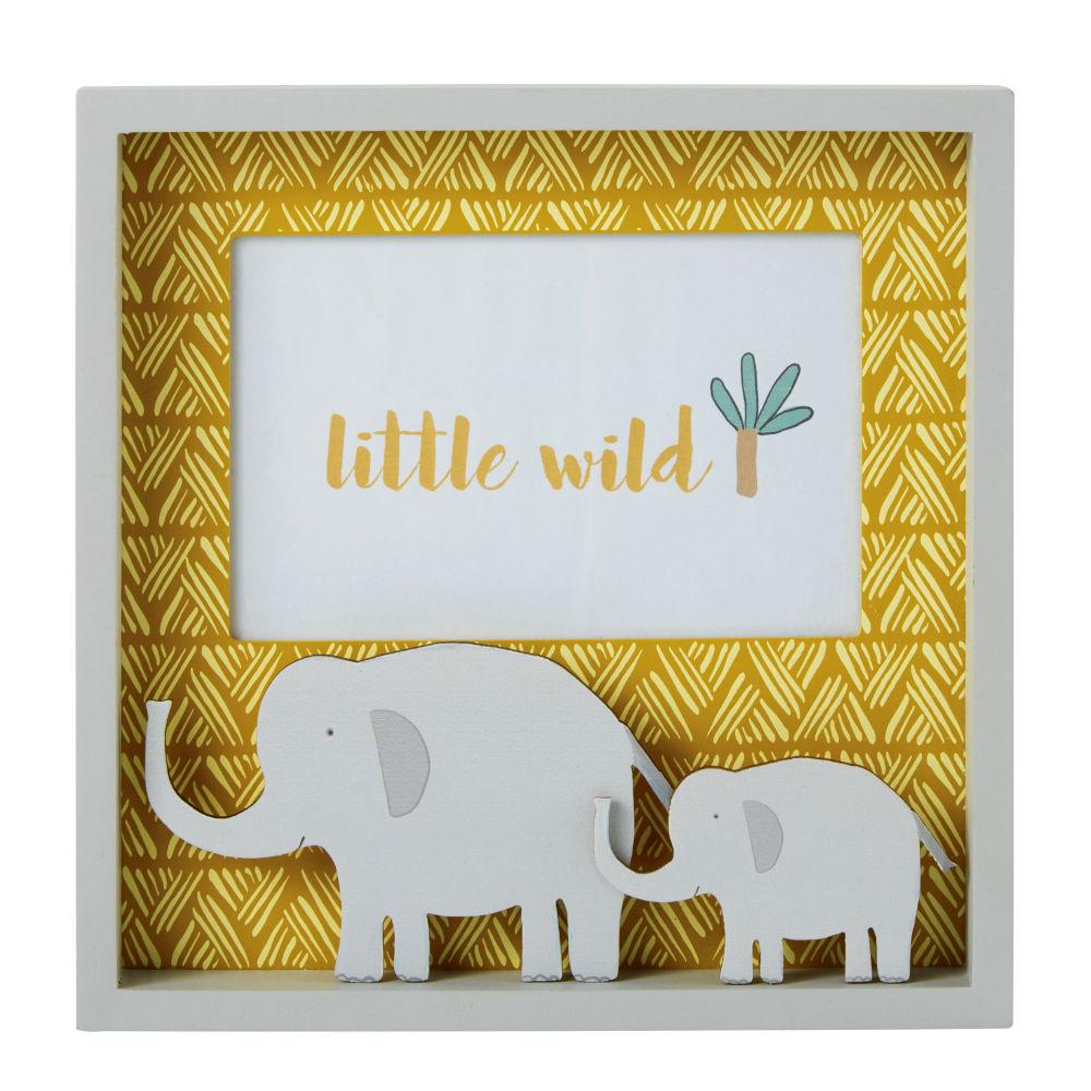 Cadre photo en pin jaune et éléphants gris 10x15