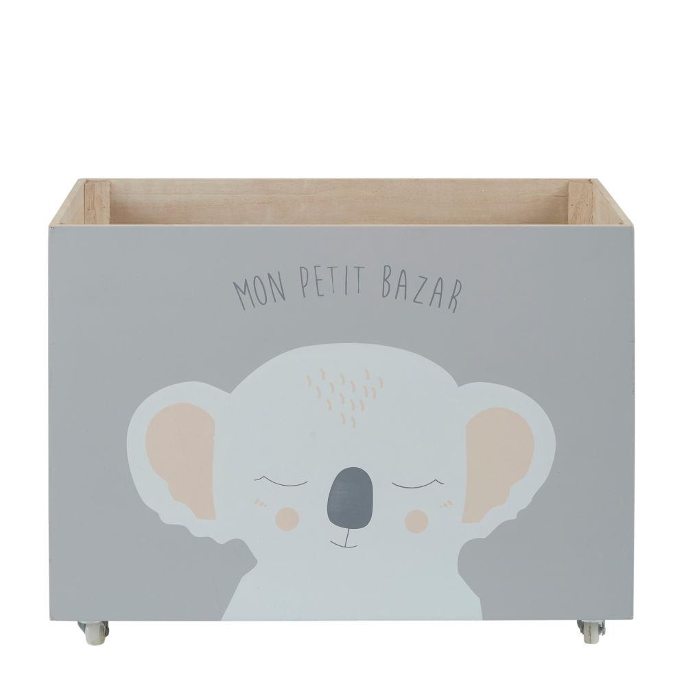 Caisse à jouets à roulettes grise imprimé koala