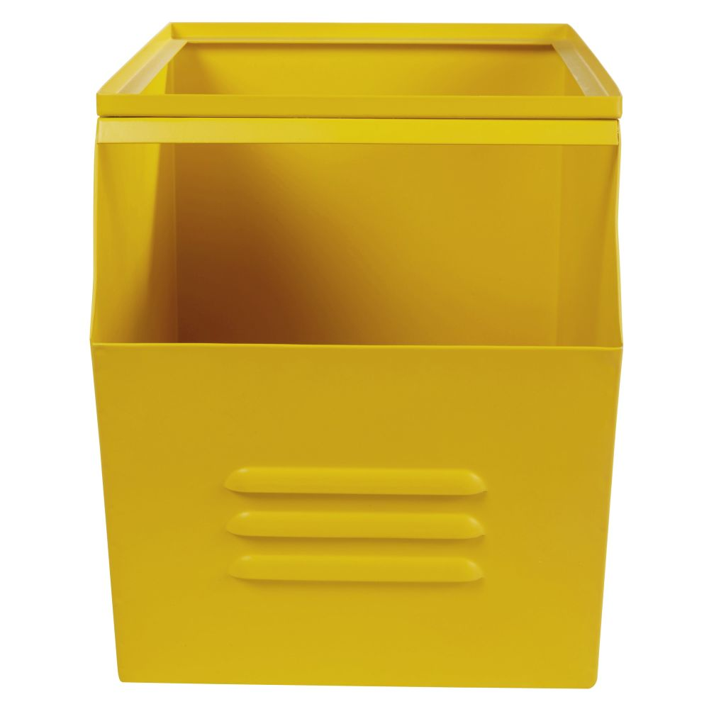 Caisse à jouets en métal jaune
