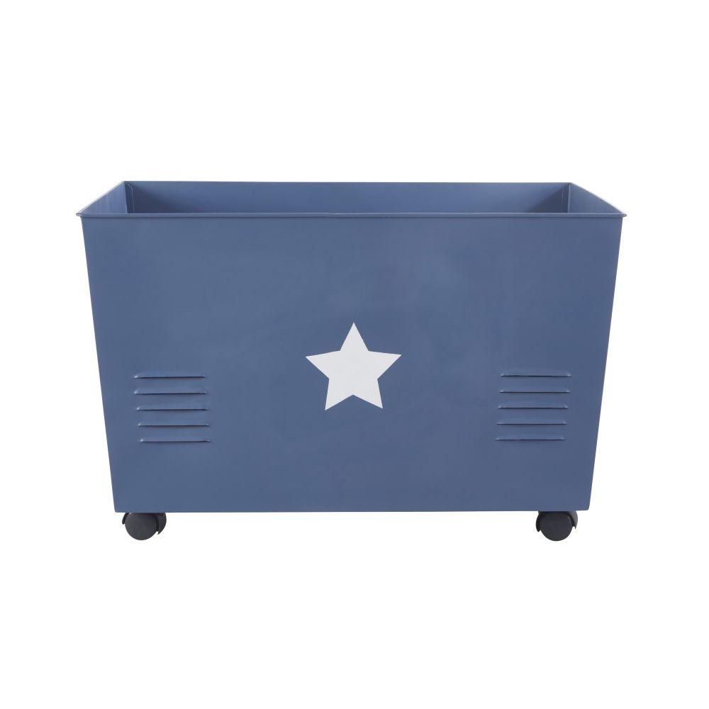 Caisse de rangement à roulettes en métal bleu