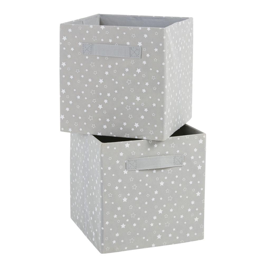 Caisses de rangement grises imprimé étoiles blanches (x2)
