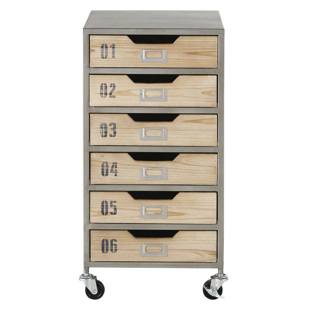 Caisson de bureau à roulettes 6 tiroirs en métal gris clair et sapin massif