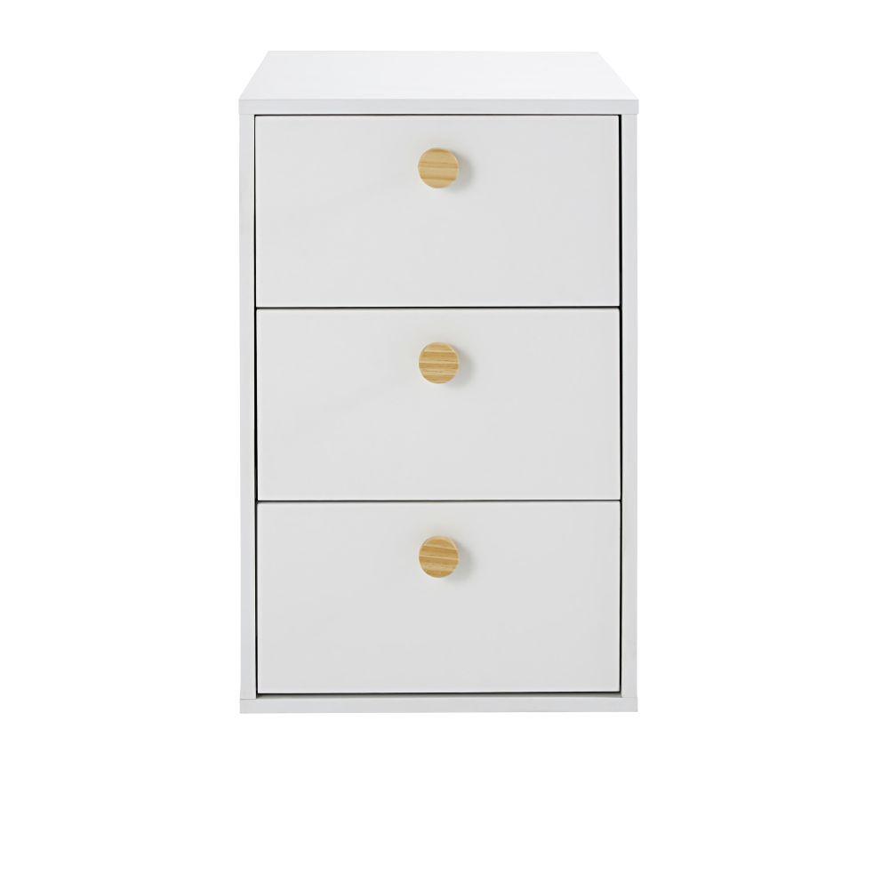 Caisson pour bureau modulable 3 tiroirs blanc