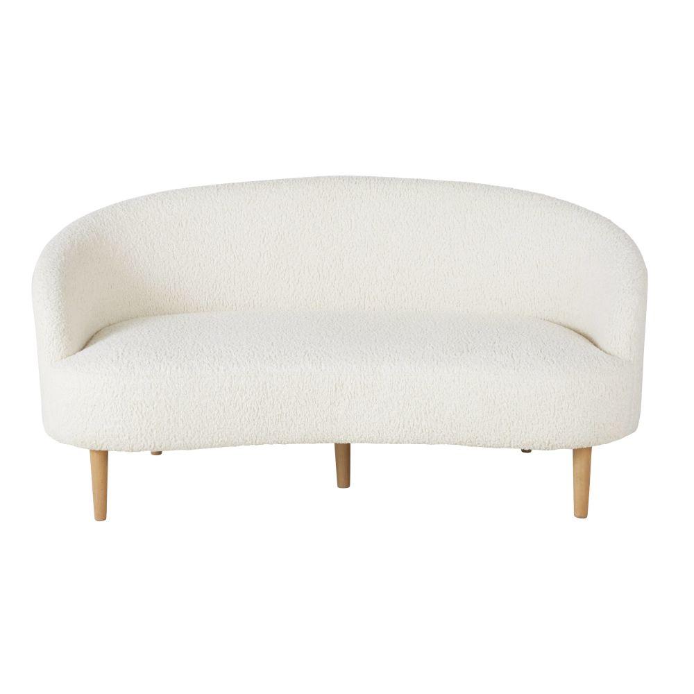 Canapé 2/3 places à bouclettes blanc