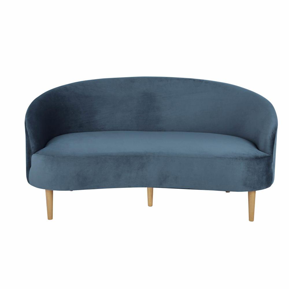 Canapé 2/3 places en velours bleu