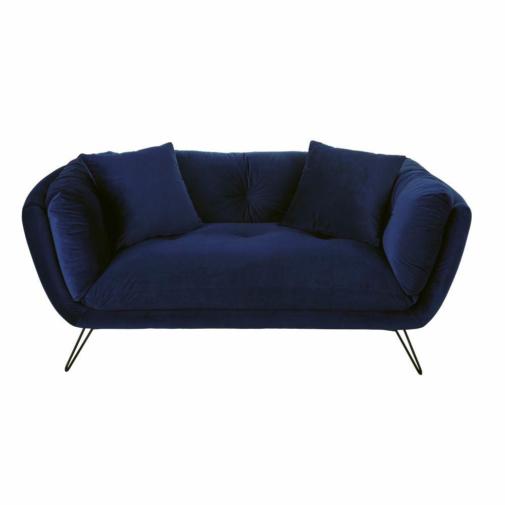 Canapé 2/3 places en velours bleu nuit