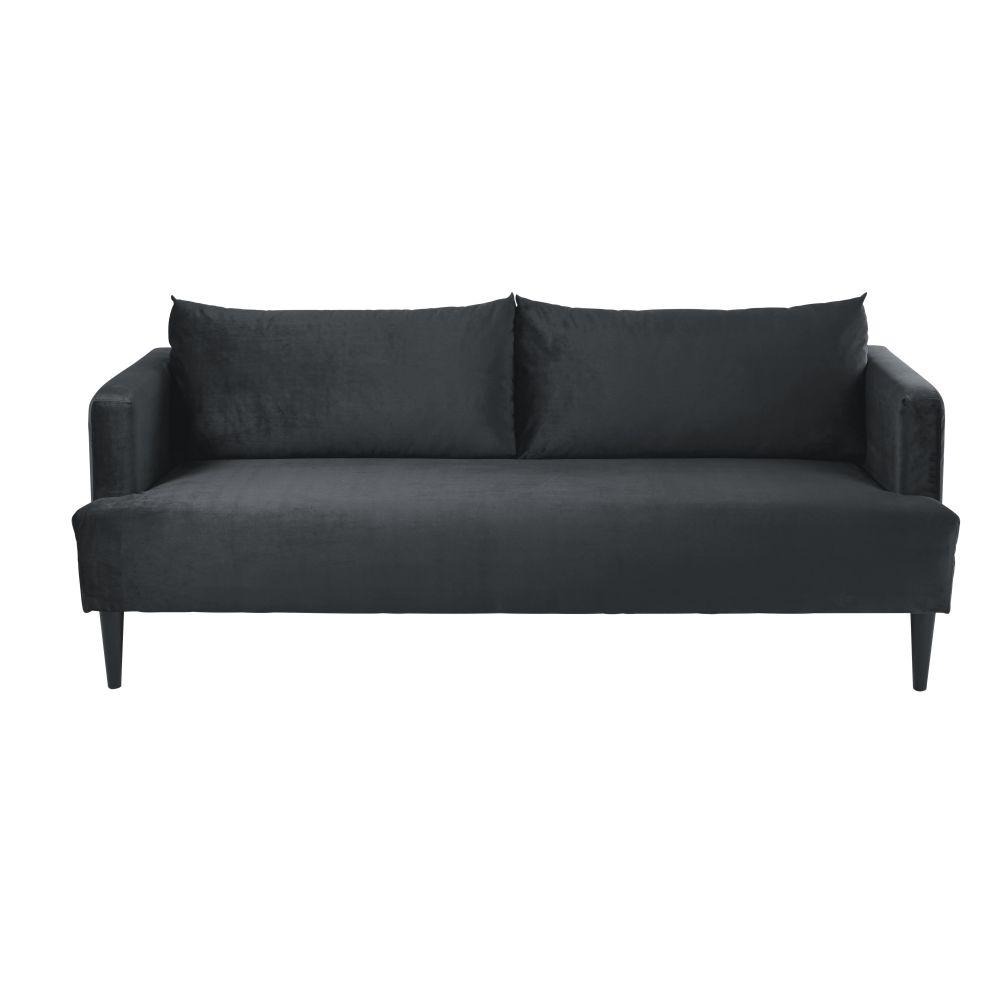 Canapé 2/3 places en velours gris