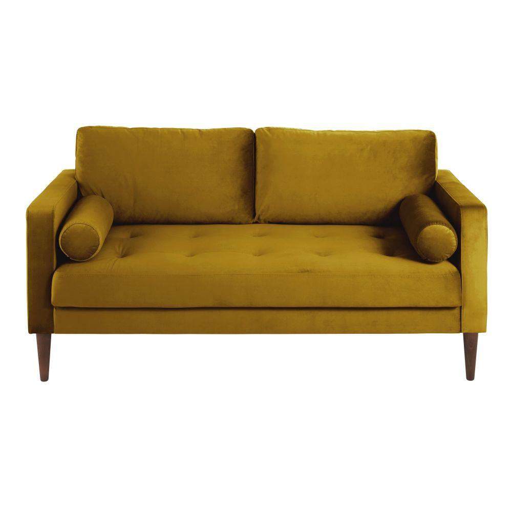 Canapé 2/3 places en velours jaune