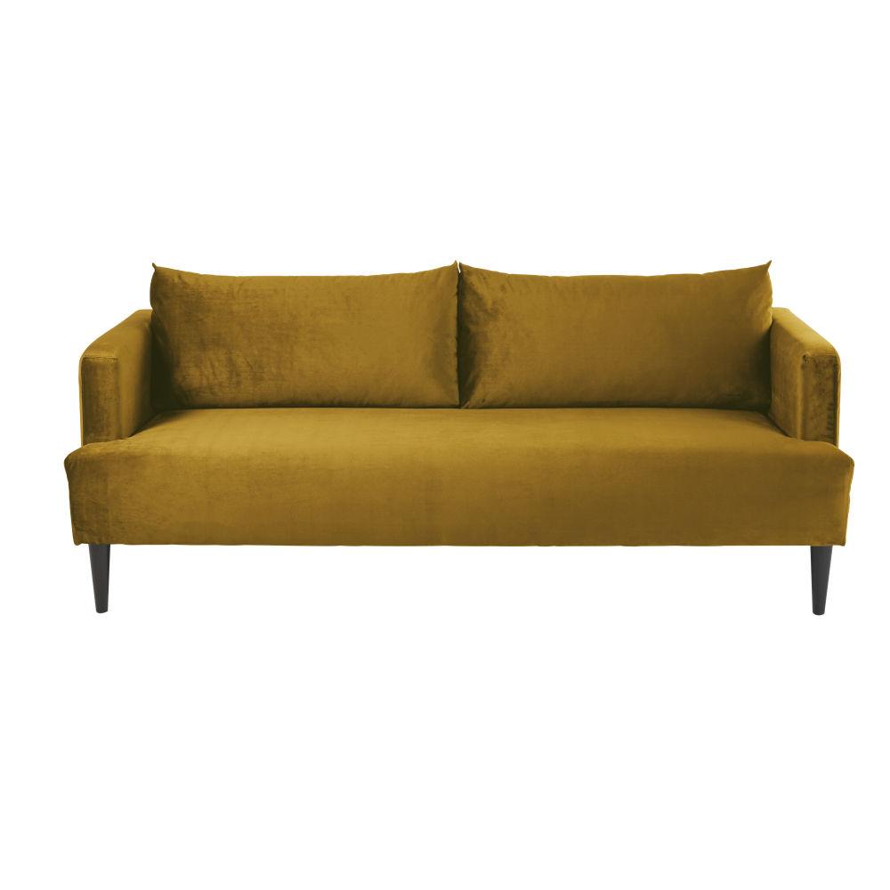 Canapé 2/3 places en velours ocre