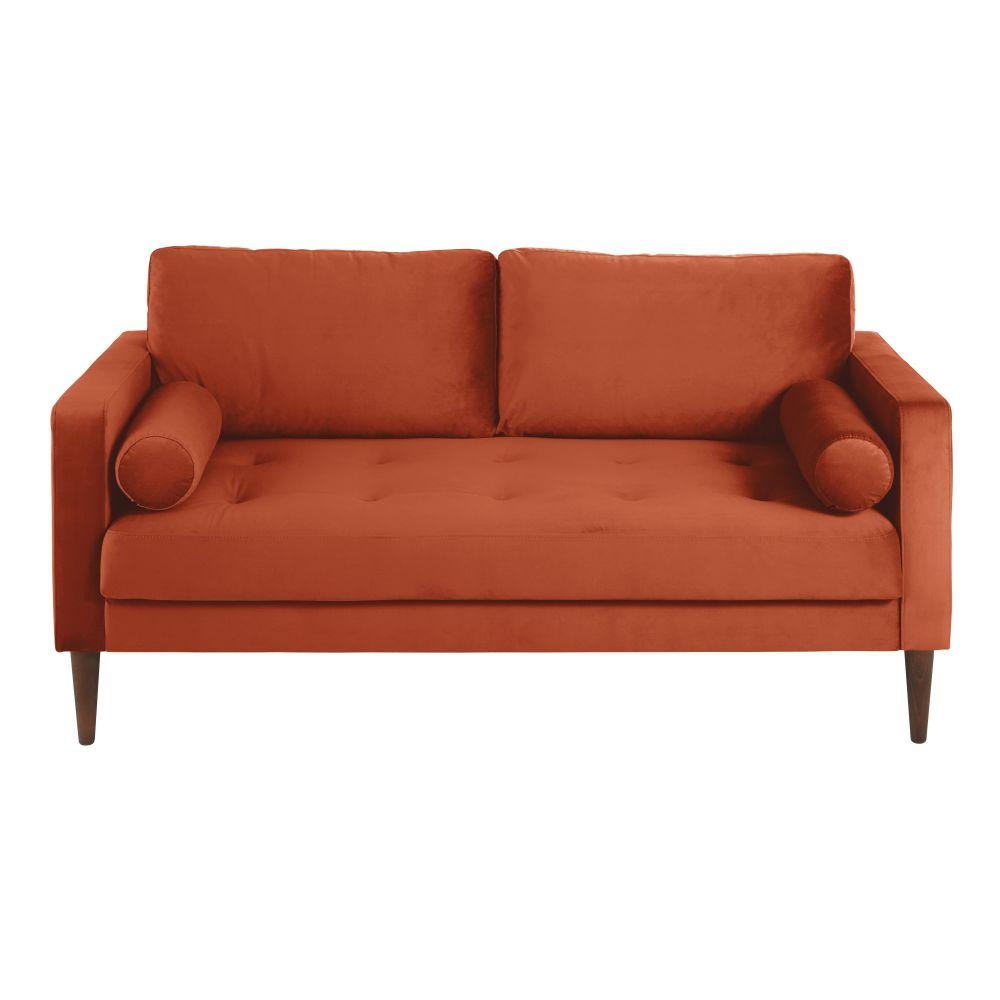 Canapé 2/3 places en velours orange