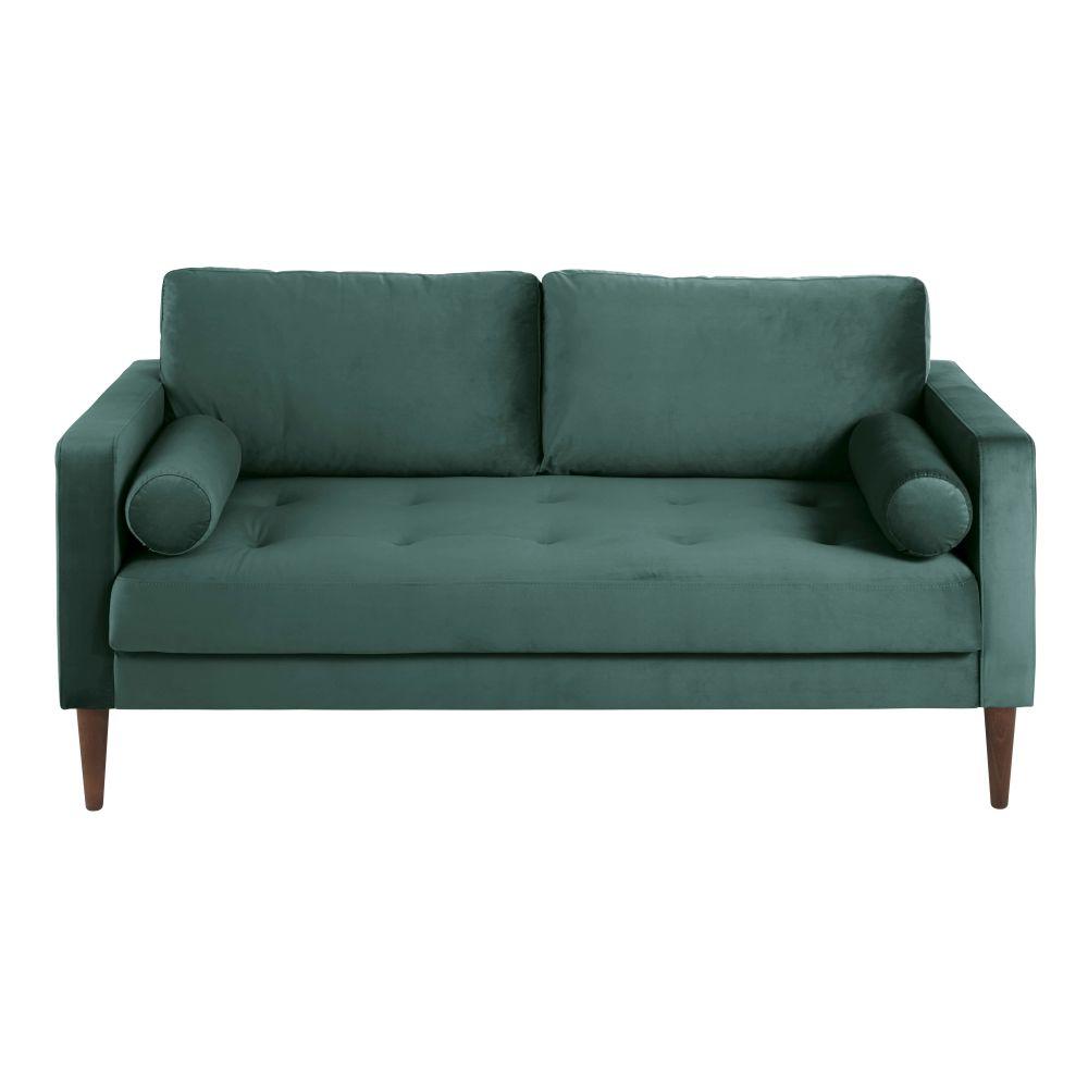 Canapé 2/3 places en velours vert