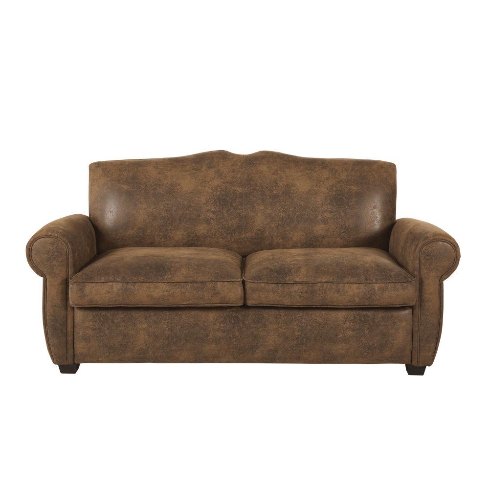 Canapé 2 places en suédine marron
