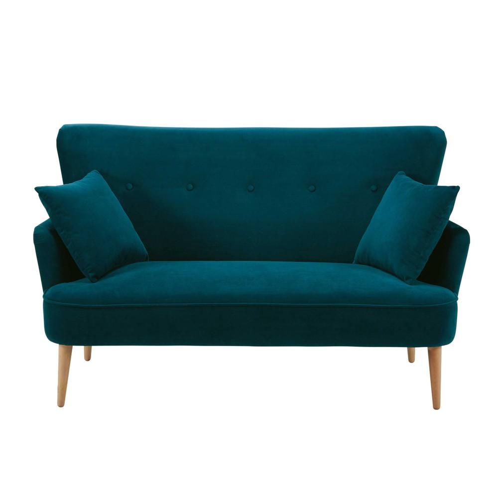 Canapé 2 places en velours bleu pétrole