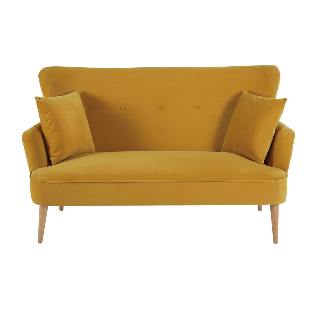Canapé 2 places en velours jaune moutarde
