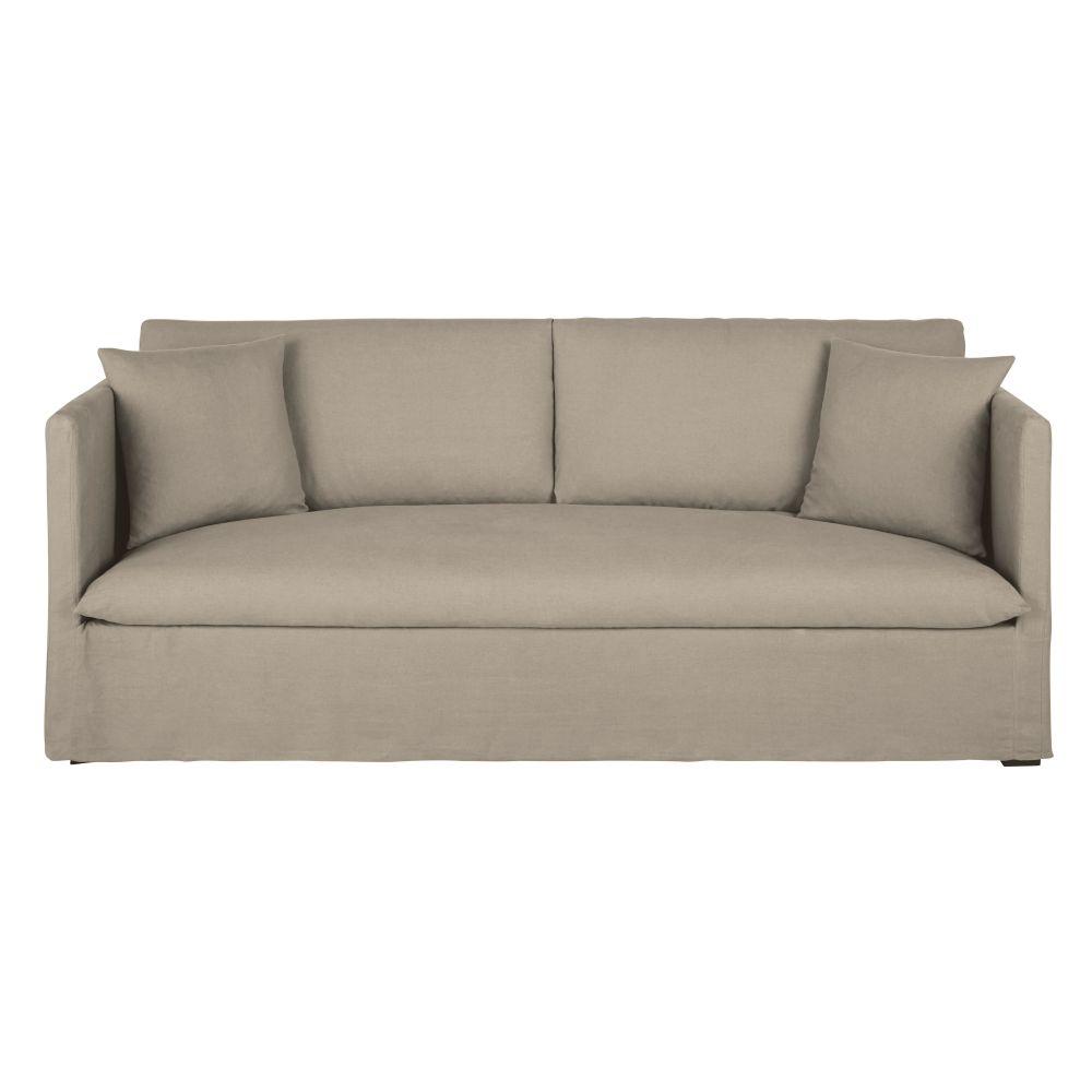 Canapé 3/4 places en lin beige ficelle