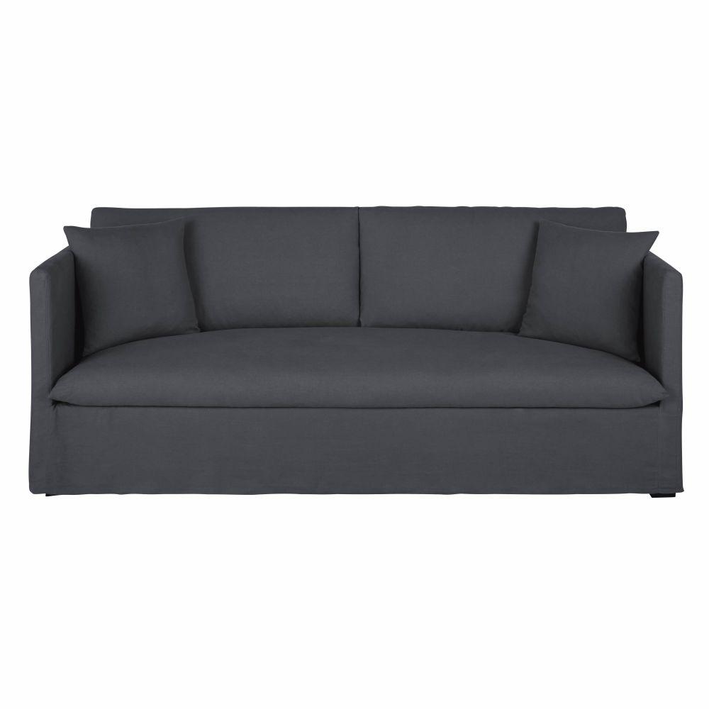 Canapé 3/4 places en lin gris anthracite