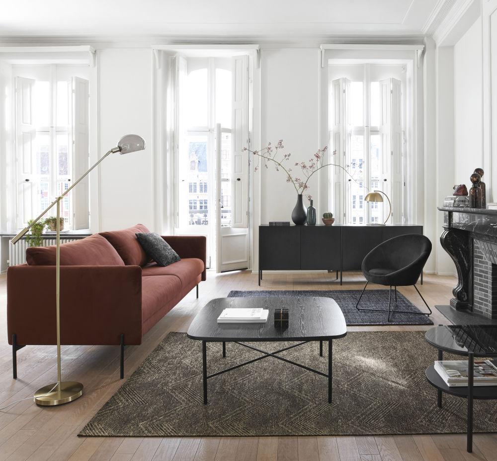 Canapé 3/4 places en velours brun
