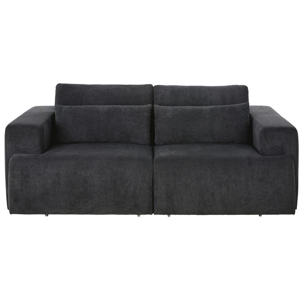Canapé 3/4 places en velours côtelé gris anthracite