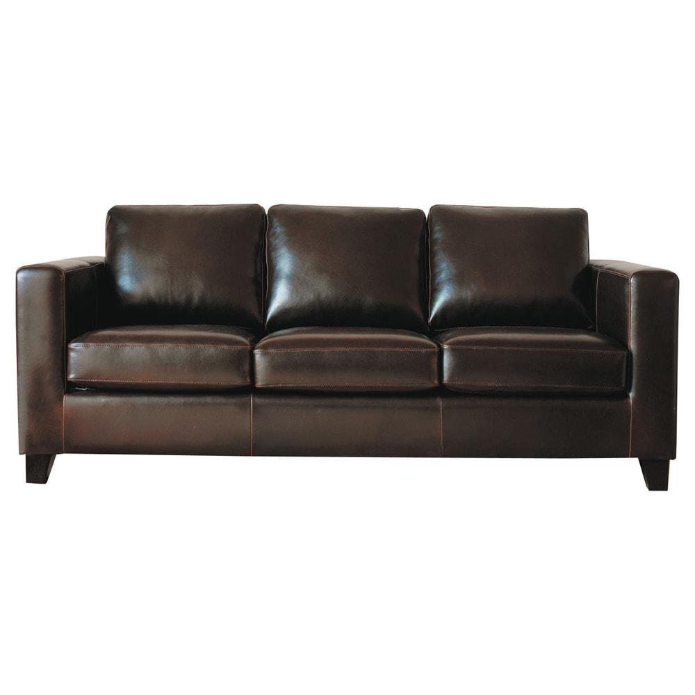 Canapé 3 places en croûte de cuir marron