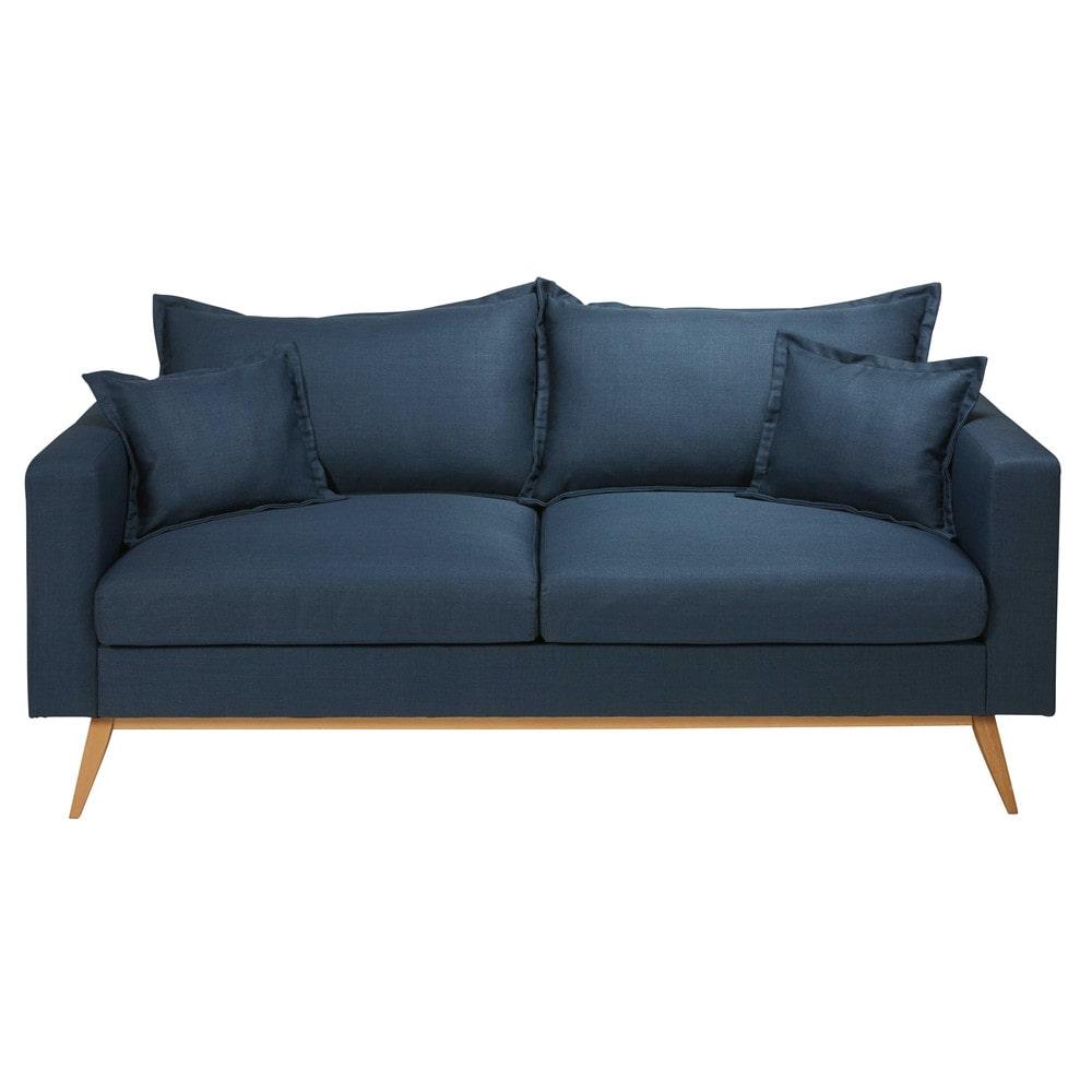 Canapé 3 places en tissu bleu nuit