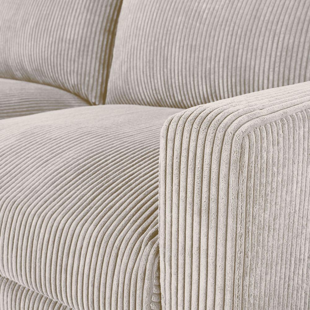 Canapé 3 places en velours côtelé gris clair