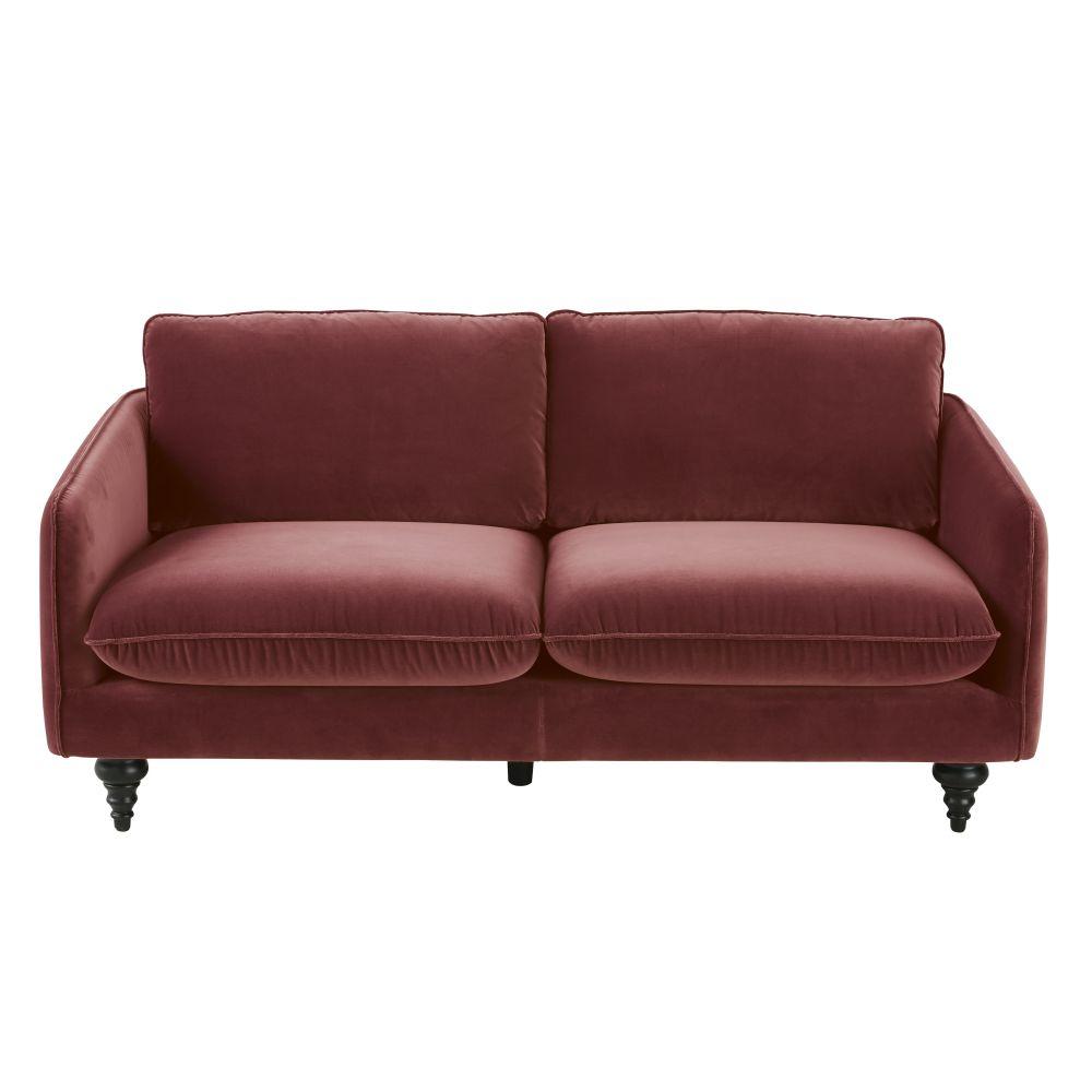 Canapé 3 places en velours rouge brique