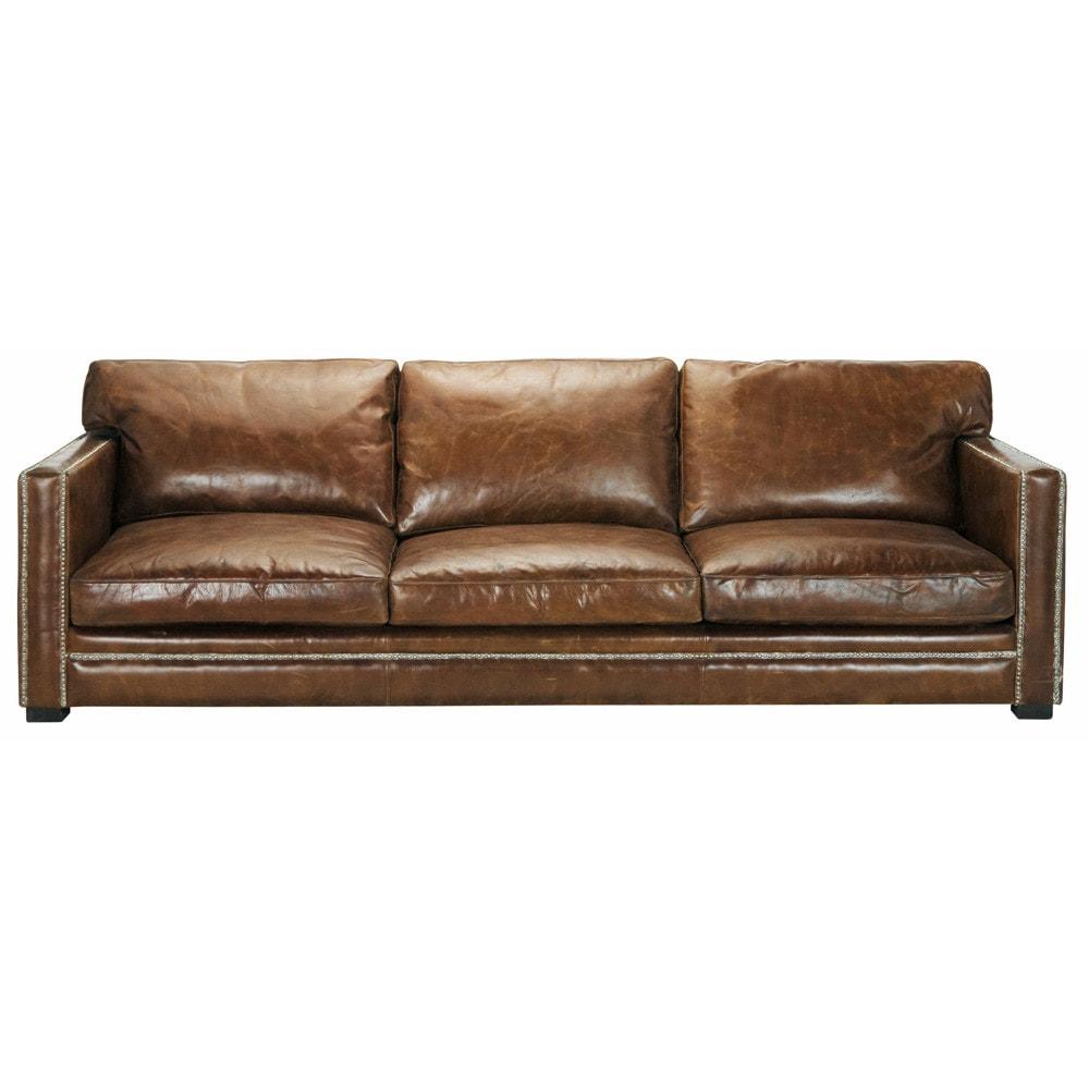Canapé 4/5 places en cuir marron