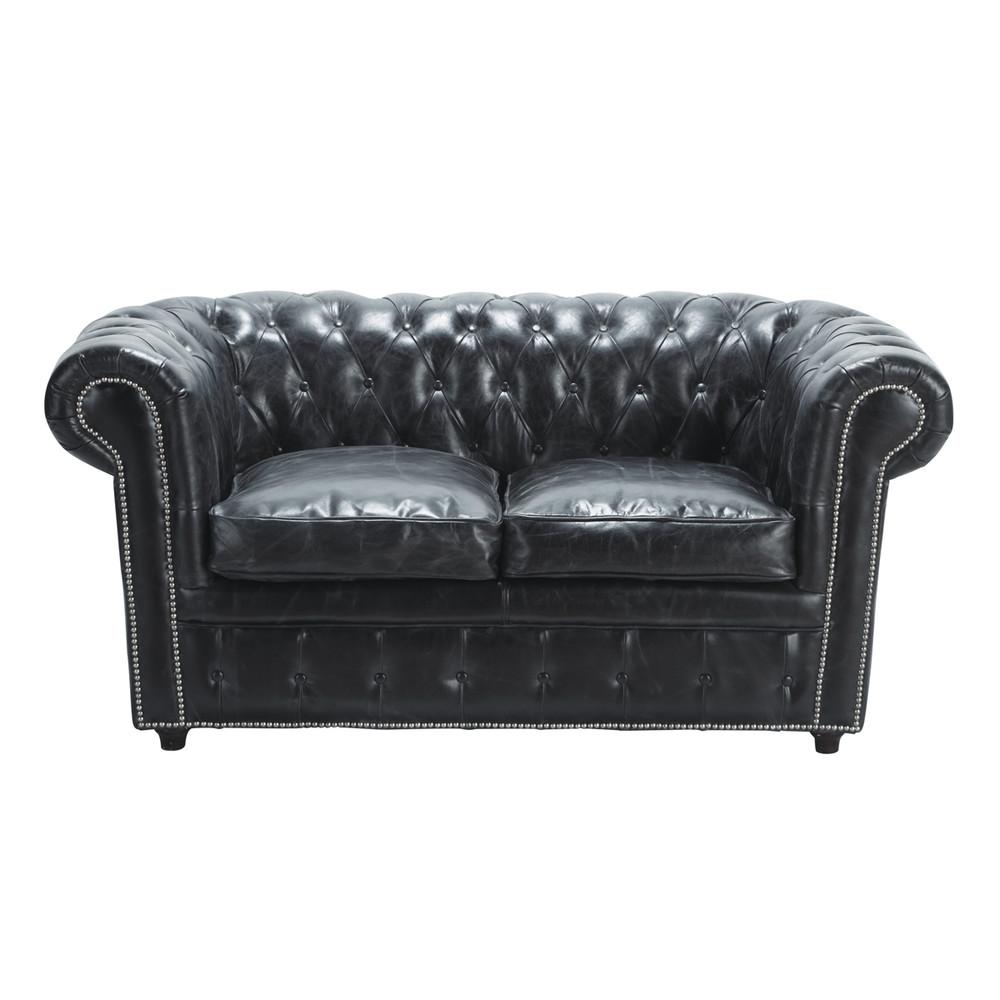 Canapé capitonné 2 places en cuir noir