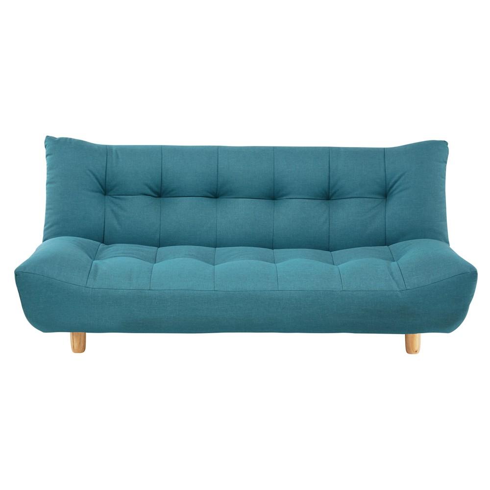 Canapé clic-clac capitonné 3 places bleu turquoise
