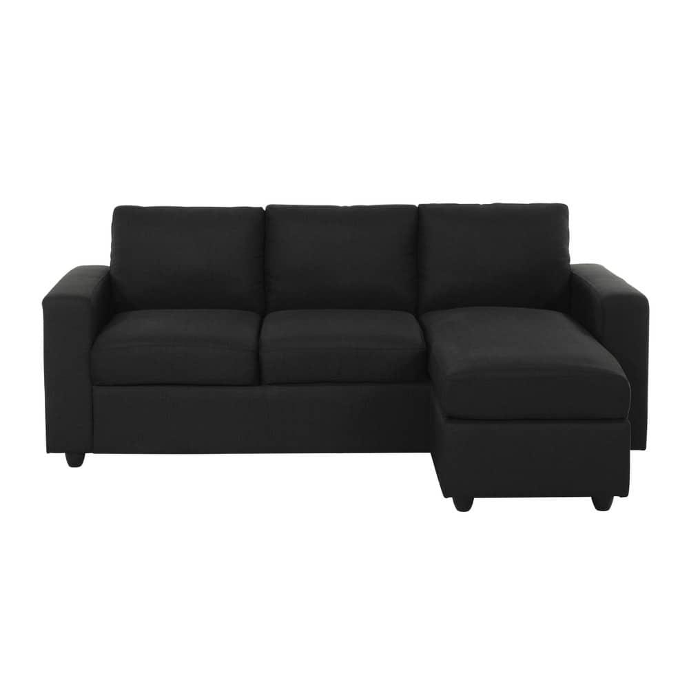 Canapé d'angle 3 places gris anthracite