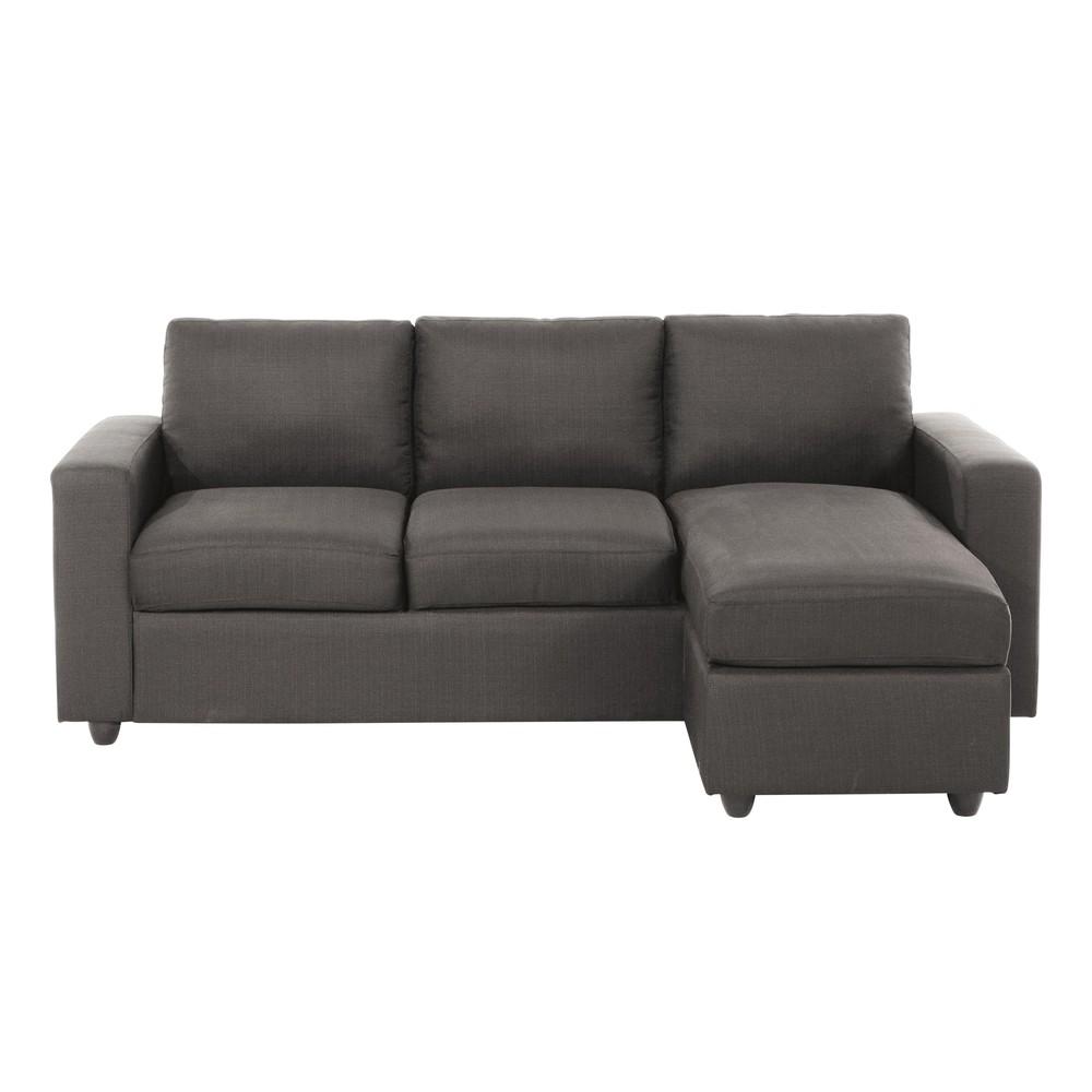 Canapé d'angle 3 places gris taupe
