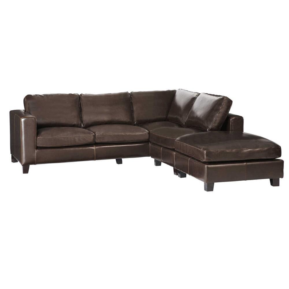 Canapé d'angle 5 places en croûte de cuir marron