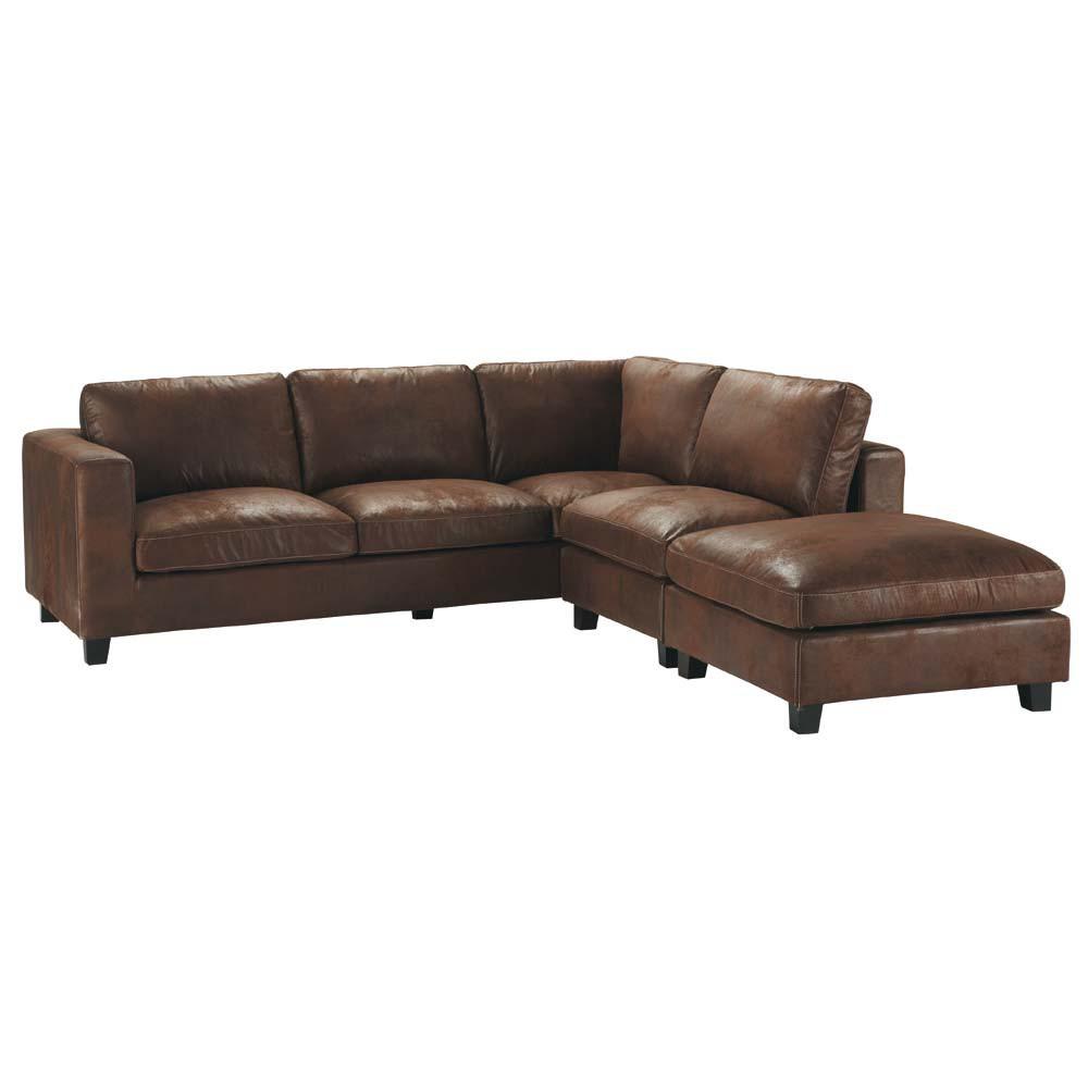 Canapé d'angle 5 places en suédine marron