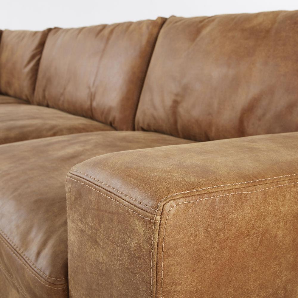 Canapé d'angle 6 places en cuir camel
