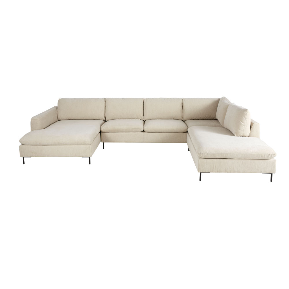 Canapé d'angle 7 places beige chiné