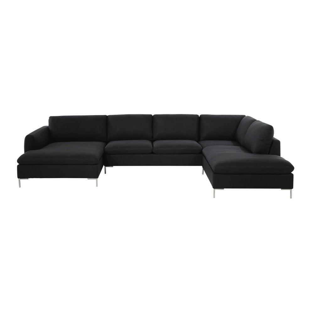 Canapé d'angle 7 places gris anthracite