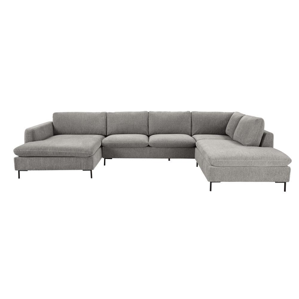 Canapé d'angle 7 places gris chiné