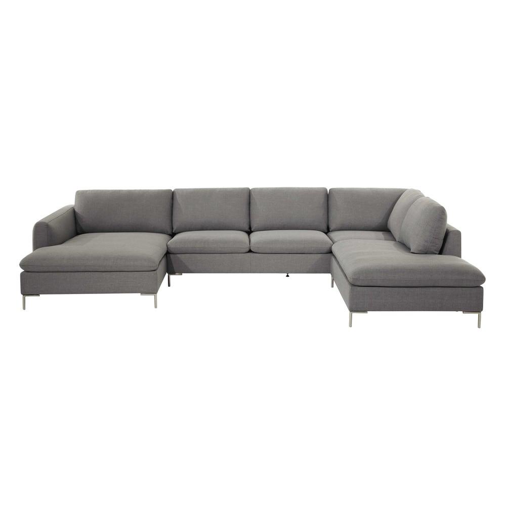 Canapé d'angle 7 places gris clair
