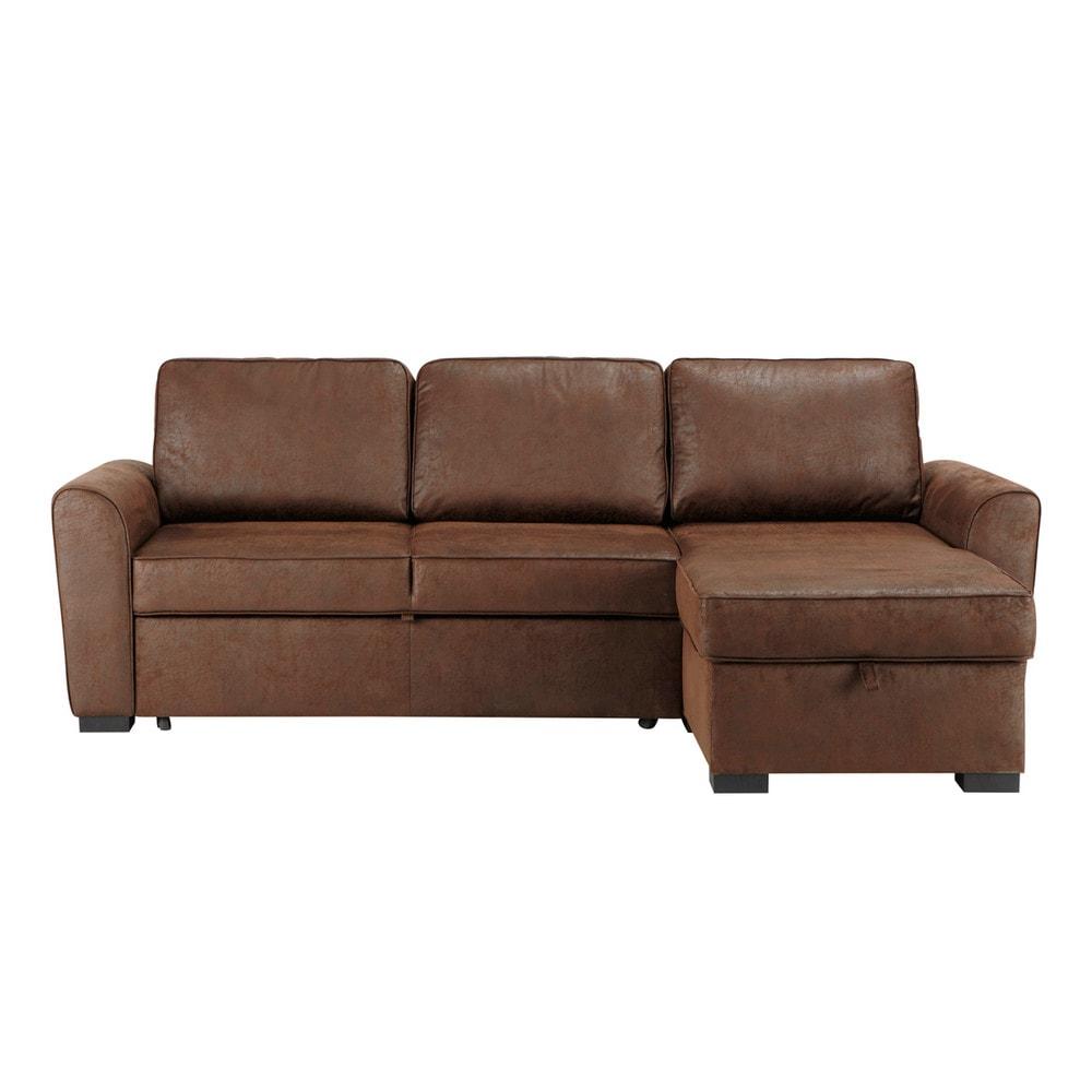 Canapé d'angle convertible 3/4 places en suédine marron