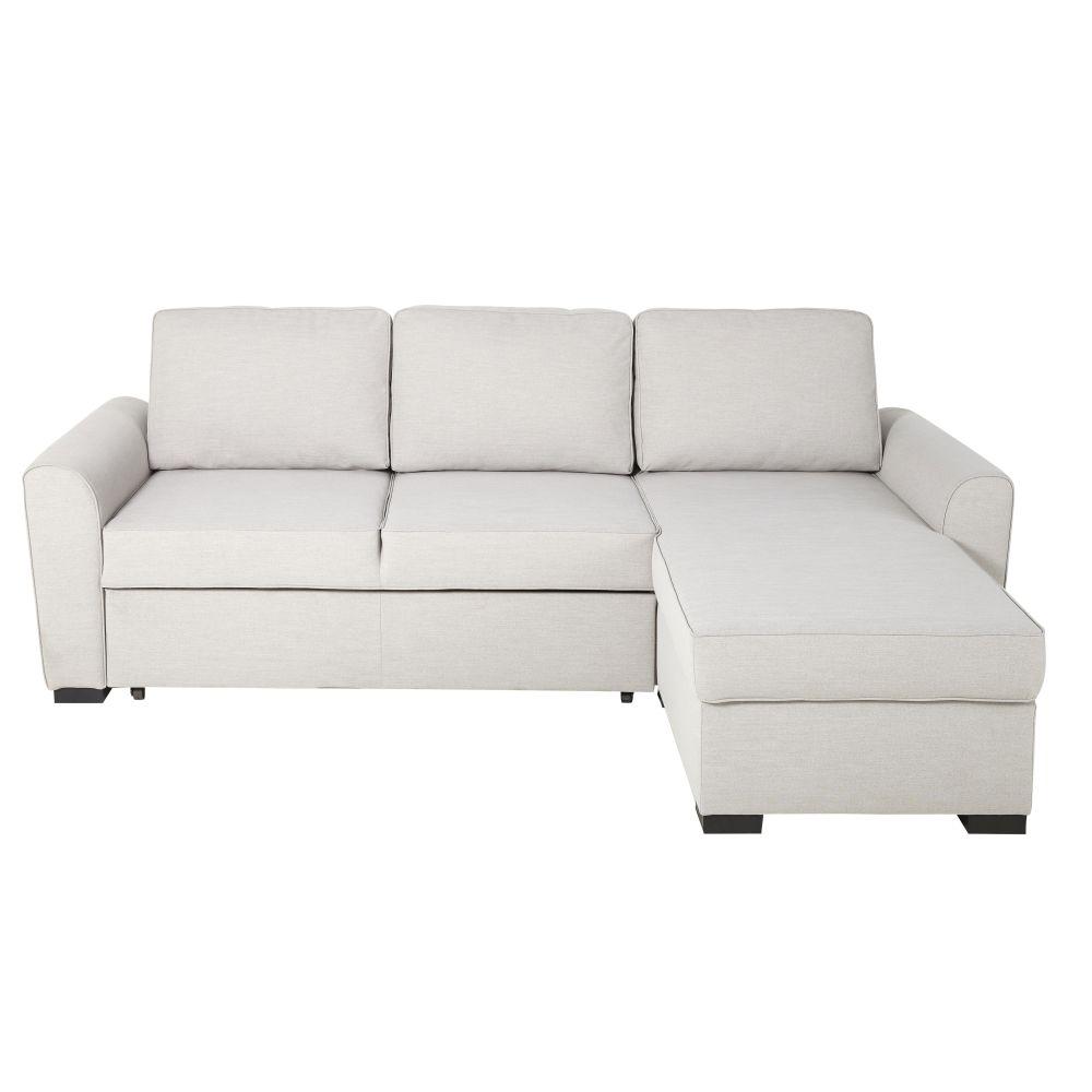 Canapé d'angle convertible 3/4 places gris clair