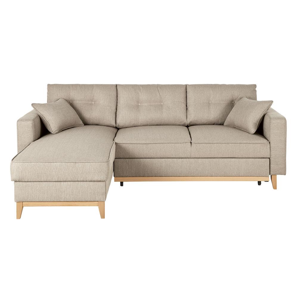 Canapé d'angle convertible 4/5 places beige