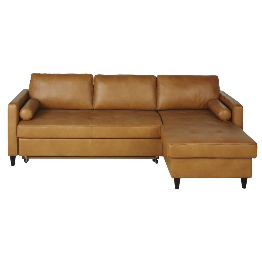 Canapé d'angle convertible 4/5 places en cuir caramel