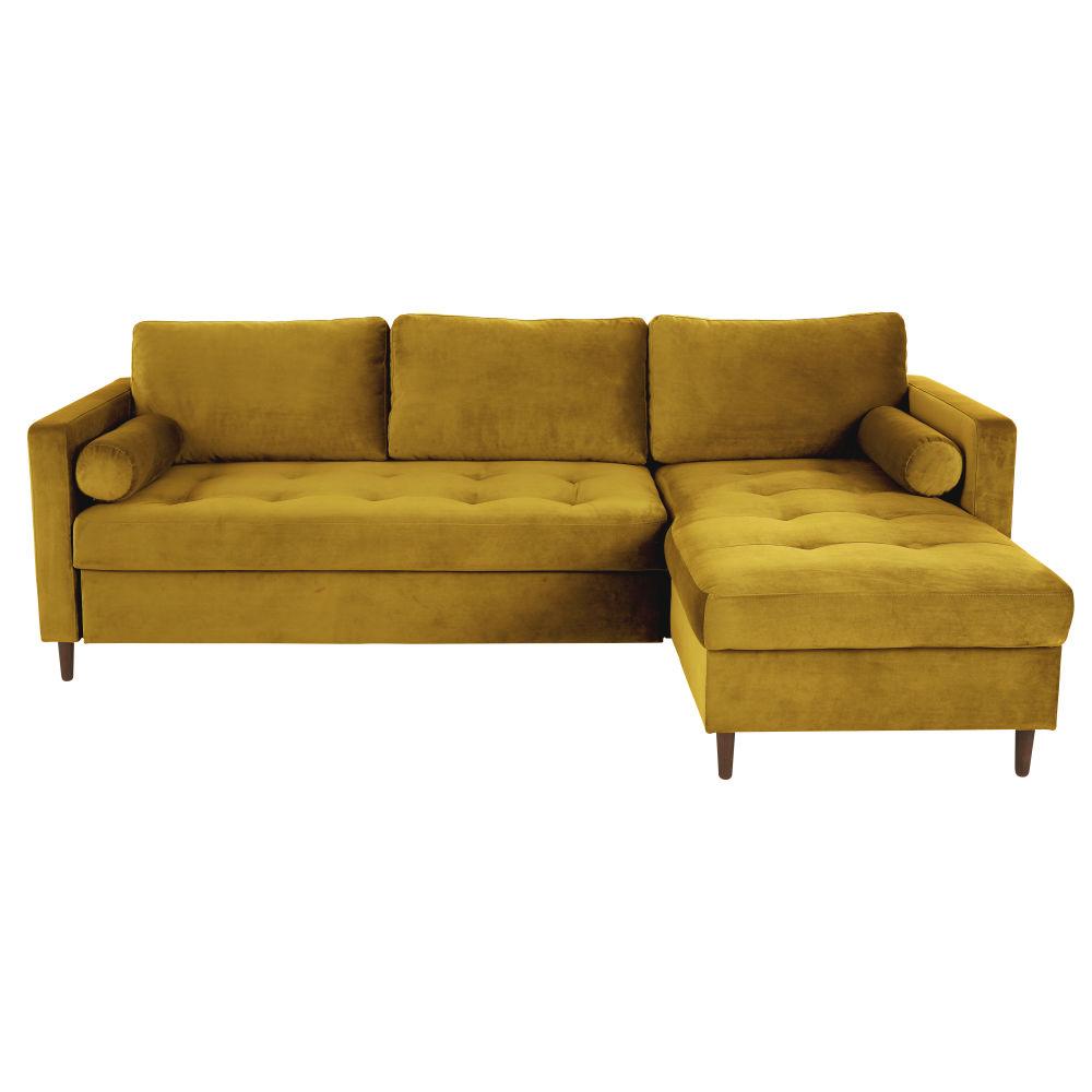 Canapé d'angle convertible 4/5 places en velours jaune