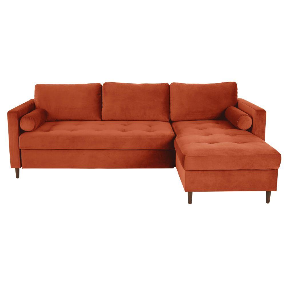Canapé d'angle 5 places Orange Velours Confort