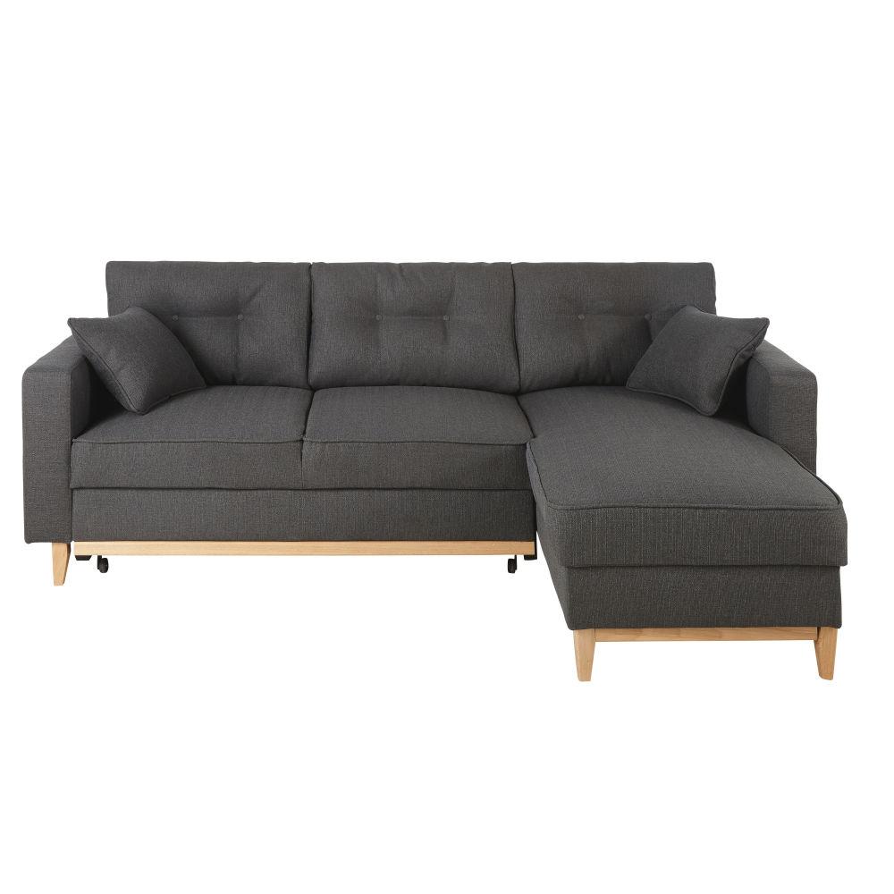 Canapé d'angle convertible 4/5 places gris anthracite