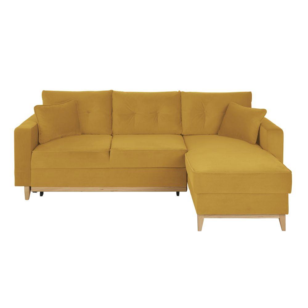 Canapé d'angle convertible 4/5 places jaune