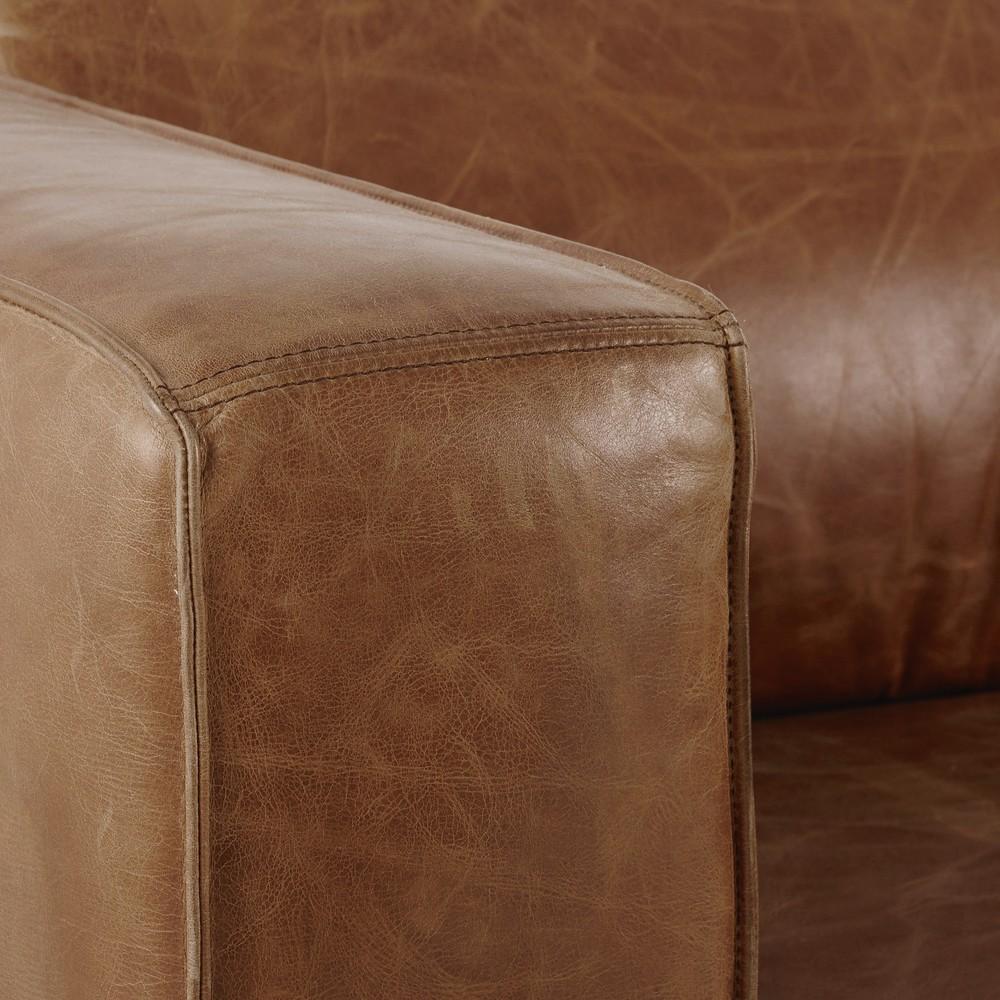 Canapé d'angle convertible 4 places en cuir marron