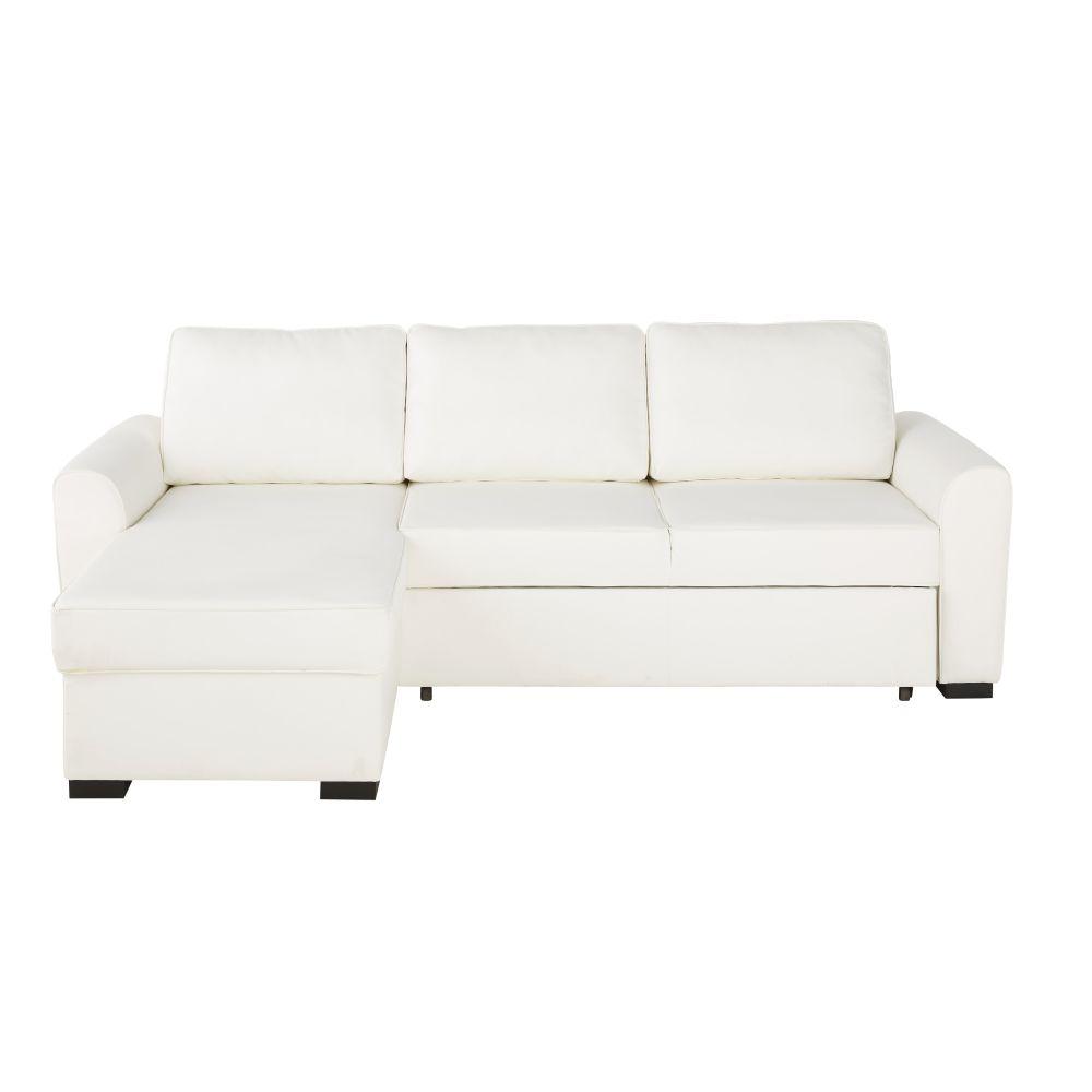 Canapé d'angle convertible 4 places en textile enduit blanc