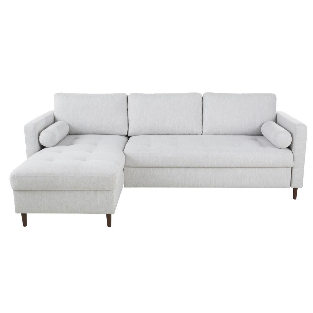 Canapé d'angle convertible 4 places gris chiné
