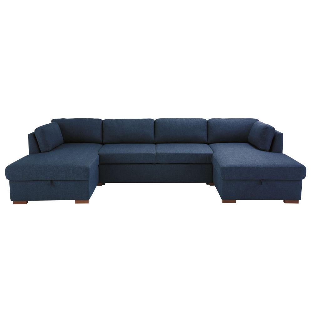 Canapé d'angle convertible 6 places bleu nuit, matelas 16 cm